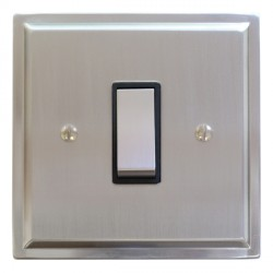 Focus SB Sheraton SSC11.1B 1 gang 20 amp 2 way rocker switch in Satin Chrome with black inserts