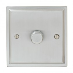 Focus SB Sheraton SSC43.1/SML 1 gang 700W low voltage, 1000W mains voltage dimmer in Satin Chrome