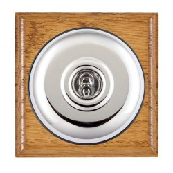 Hamilton Bloomsbury Ovolo Medium Oak Plain Bright Chrome 1 Gang Double Pole Toggle with Black Insert