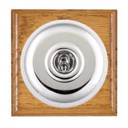 Hamilton Bloomsbury Ovolo Medium Oak Plain Bright Chrome 1 Gang Double Pole Toggle with White Insert