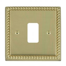 Hamilton Cheriton Georgian Grid Polished Brass 1 Gang Grid Fix Aperture Plate with Grid