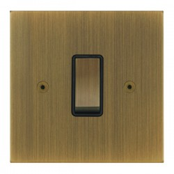 Focus SB True Edge TEAAB11.1B 1 gang 20 amp 2 way rocker switch in Antique Brass with black inserts