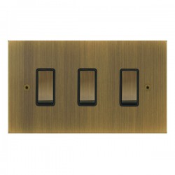 Focus SB True Edge TEAAB11.3B 3 gang 20 amp 2 way rocker switch in Antique Brass with black inserts