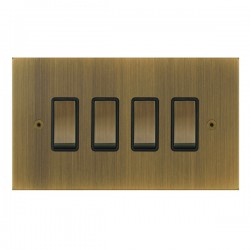 Focus SB True Edge TEAAB11.4B 4 gang 20 amp 2 way rocker switch in Antique Brass with black inserts