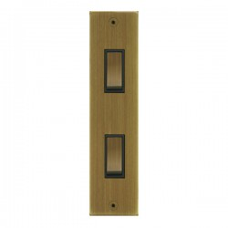 Focus SB True Edge TEAAB16.2B 2 gang 20 amp 2 way architrave switch in Antique Brass with black inserts