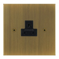 Focus SB True Edge TEAAB19.1B 1 gang 2 amp unswitched socket in Antique Brass with black inserts