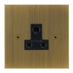 Focus SB True Edge TEAAB20.1B 1 gang 5 amp unswitched socket in Antique Brass with black inserts