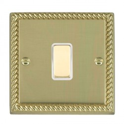 Hamilton Cheriton Georgian Polished Brass 1 Gang Multi way Touch Slave Trailing Edge with White Insert