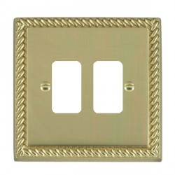 Hamilton Cheriton Georgian Grid Polished Brass 2 Gang Grid Fix Aperture Plate with Grid