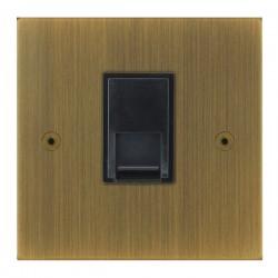 Focus SB True Edge TEAAB51.1B 1 gang CAT5 RJ45 socket in Antique Brass with black inserts