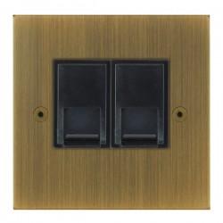 Focus SB True Edge TEAAB51.2B 2 gang CAT5 RJ45 socket in Antique Brass with black inserts