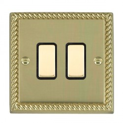Hamilton Cheriton Georgian Polished Brass 2 Gang Multi way Touch Master Trailing Edge with Black Insert
