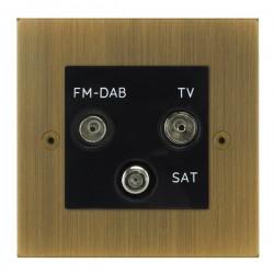Focus SB True Edge TEAAB80.3B triplex TV/FM/Satellite outlet in Antique Brass with black inserts