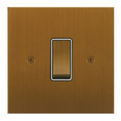 Focus SB True Edge TEABA11.1W 1 gang 20 amp 2 way rocker switch in Bronze Antique with white inserts