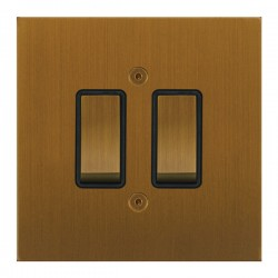 Focus SB True Edge TEABA11.2B 2 gang 20 amp 2 way rocker switch in Bronze Antique with black inserts