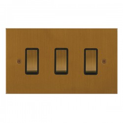 Focus SB True Edge TEABA11.3B 3 gang 20 amp 2 way rocker switch in Bronze Antique with black inserts