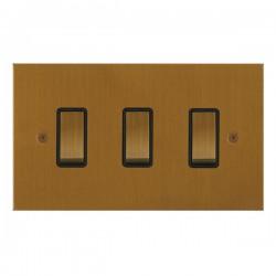 Focus SB True Edge TEABA11.3B 3 gang 20 amp 2 way rocker switch in Bronze Antique with black inserts