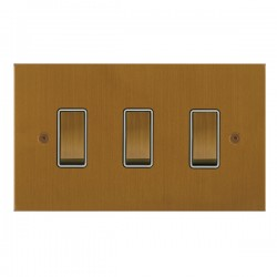 Focus SB True Edge TEABA11.3W 3 gang 20 amp 2 way rocker switch in Bronze Antique with white inserts