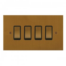 Focus SB True Edge TEABA11.4B 4 gang 20 amp 2 way rocker switch in Bronze Antique with black inserts