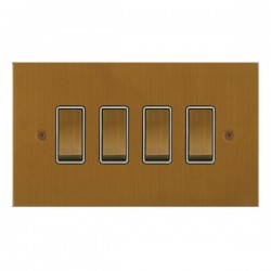 Focus SB True Edge TEABA11.4W 4 gang 20 amp 2 way rocker switch in Bronze Antique with white inserts