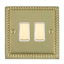 Hamilton Cheriton Georgian Polished Brass 2 Gang Multi way Touch Slave Trailing Edge with White Insert