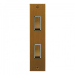 Focus SB True Edge TEABA16.2W 2 gang 20 amp 2 way architrave switch in Bronze Antique with white inserts