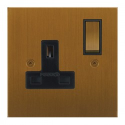 Focus SB True Edge TEABA18.1B 1 gang 13 amp switched socket in Bronze Antique with black inserts