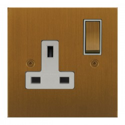 Focus SB True Edge TEABA18.1W 1 gang 13 amp switched socket in Bronze Antique with white inserts