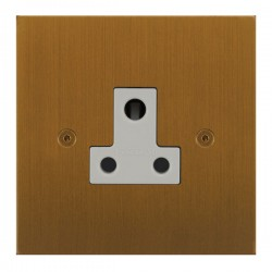 Focus SB True Edge TEABA20.1W 1 gang 5 amp unswitched socket in Bronze Antique with white inserts