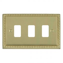 Hamilton Cheriton Georgian Grid Polished Brass 3 Gang Grid Fix Aperture Plate with Grid
