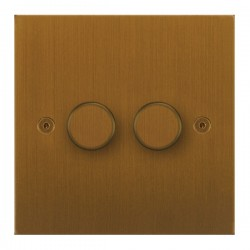 Focus SB True Edge TEABA21.2 2 gang 2 way 250W (mains and low voltage) dimmer in Bronze Antique