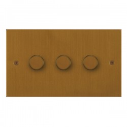 Focus SB True Edge TEABA21.3 3 gang 2 way 250W (mains and low voltage) dimmer in Bronze Antique