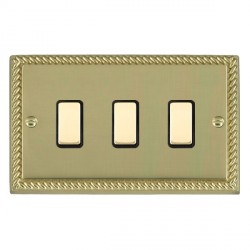 Hamilton Cheriton Georgian Polished Brass 3 Gang Multi way Touch Slave Trailing Edge with Black Insert