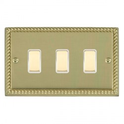 Hamilton Cheriton Georgian Polished Brass 3 Gang Multi way Touch Slave Trailing Edge with White Insert
