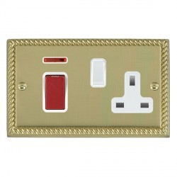 Hamilton Cheriton Georgian Polished Brass 1 Gang Double Pole 45A Red Rocker + 13A Switched Socket with White Insert