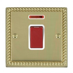Hamilton Cheriton Georgian Polished Brass 1 Gang 45A Double Pole Red Rocker + neon with White Insert