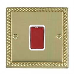 Hamilton Cheriton Georgian Polished Brass 1 Gang 45A Double Pole Red Rocker with White Insert
