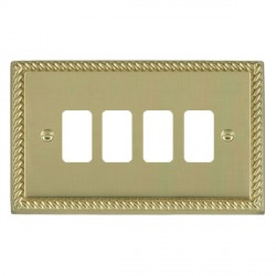 Hamilton Cheriton Georgian Grid Polished Brass 4 Gang Grid Fix Aperture Plate with Grid
