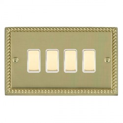 Hamilton Cheriton Georgian Polished Brass 4 Gang Multi way Touch Master Trailing Edge with White Insert