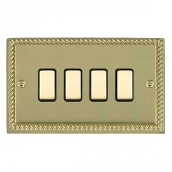 Hamilton Cheriton Georgian Polished Brass 4 Gang Multi way Touch Slave Trailing Edge with Black Insert