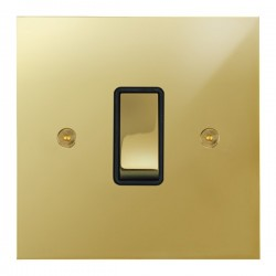 Focus SB True Edge TEAPB11.1B 1 gang 20 amp 2 way rocker switch in Polished Brass with black inserts