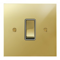 Focus SB True Edge TEAPB11.1W 1 gang 20 amp 2 way rocker switch in Polished Brass with white inserts