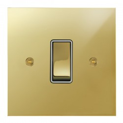 Focus SB True Edge TEAPB11.1/3W 1 gang 20 amp Intermediate rocker switch in Polished Brass with White Inserts