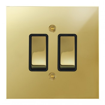 Focus SB True Edge TEAPB11.2B 2 gang 20 amp 2 way rocker switch in Polished Brass with black inserts