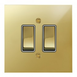 Focus SB True Edge TEAPB11.2W 2 gang 20 amp 2 way rocker switch in Polished Brass with white inserts