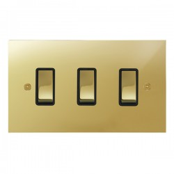 Focus SB True Edge TEAPB11.3B 3 gang 20 amp 2 way rocker switch in Polished Brass with black inserts