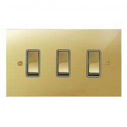 Focus SB True Edge TEAPB11.3W 3 gang 20 amp 2 way rocker switch in Polished Brass with white inserts