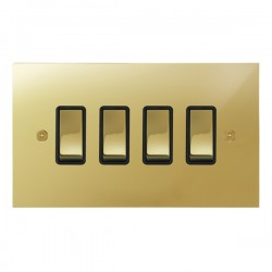Focus SB True Edge TEAPB11.4B 4 gang 20 amp 2 way rocker switch in Polished Brass with black inserts