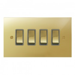 Focus SB True Edge TEAPB11.4W 4 gang 20 amp 2 way rocker switch in Polished Brass with white inserts