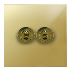 Focus SB True Edge TEAPB14.2 2 gang 20 amp 2 way toggle switch in Polished Brass
